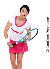tennis, brünett, spielende