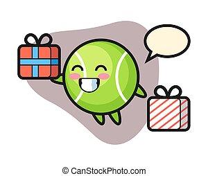 Tennis cartoon giving the gift