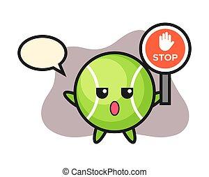 Tennis cartoon holding a stop sign