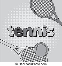 tennis cartoon - tennis icon with ball and racket vector...