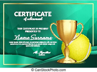 Tennis Certificate Diploma With Golden Cup Vector. Sport Award Template. Achievement Design. Honor Background. A4 Horizontal. Illustration