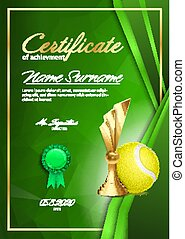 Tennis Certificate Diploma With Golden Cup Vector. Sport Award Template. Achievement Design. Honor Background. A4 Vertical. Illustration