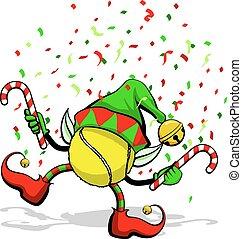 Tennis Christmas Elf - A tennis ball celebrating Christmas ...