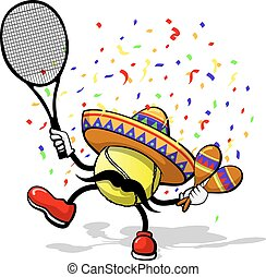 A tennis ball celebrating cinco de mayo by dancing with maracas a sombrero, and confetti.