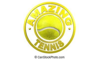 tennis, circolare, disegno, con, uno, sfondo bianco