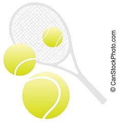 tennis - Tennis racket and three balls isolated on a white...