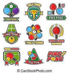 tennis, coloré, étiquettes, collection, table, logo, blanc