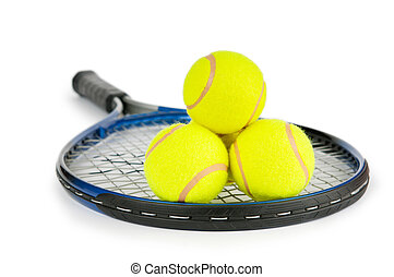 Tennis concept with the balls and racket