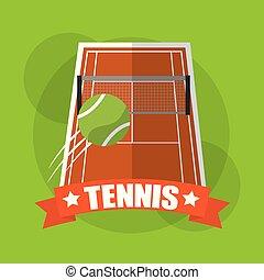 tennis court ball sport play emblem