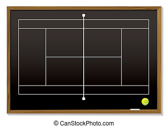tennis court blackboard - Black board with white tennis...