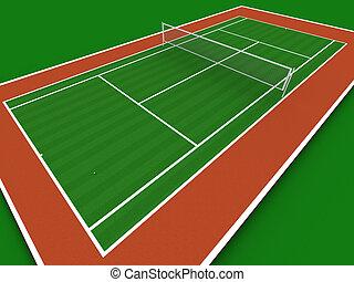 Tennis court in perspective