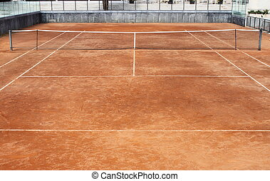 Empty clay tennis court