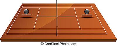 tennis court field in clay