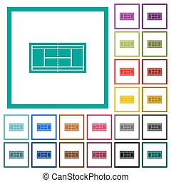 Tennis court flat color icons with quadrant frames on white ...