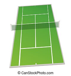 tennis court green color vector illustration