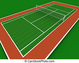 Tennis court in perspective
