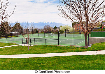 Tennis court in Salt Lake City with mountain view