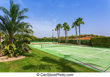 Tennis court in the garden with palm trees in Portugal.
