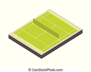 Tennis court isometric isolated on white background. A field with markup. Green lawn. Vector illustration