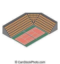 Tennis court isometric, vector illustration.