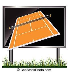 tennis court on the billboard