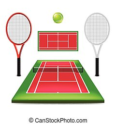Tennis court set isolated on white vector