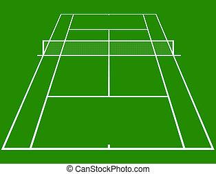 Tennis court - tennis court layout in perspective