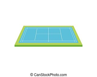 Tennis court. View from above. Vector illustration on white background.