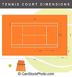 tennis court with dimensions illustration in colorful
