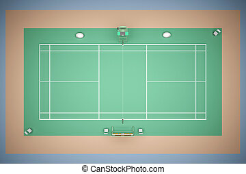 Tennis court with inventory 3d rendering
