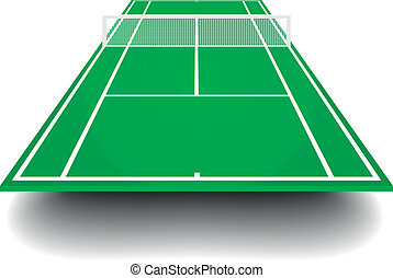 tennis court with perspective - detailed illustration of a...
