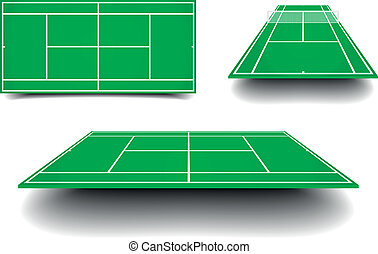 tennis court with perspective - detailed illustration of...