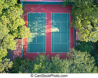 Tennis courts above view