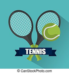 tennis cross racket ball banner emblem