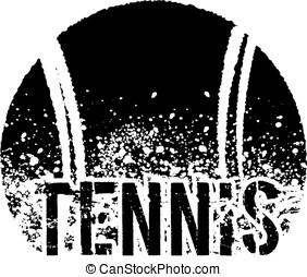 tennis dark grunge - silhouette of an a tennis ball with...