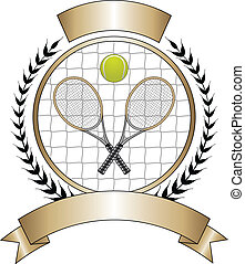 Illustration of a tennis design with tennis ball and two crossed rackets. Great for logo designs and t-shirts.