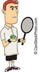 tennis, dessin animé, homme, jouer