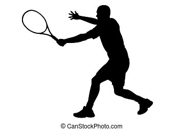 Tennis player silhouette with racket on white background