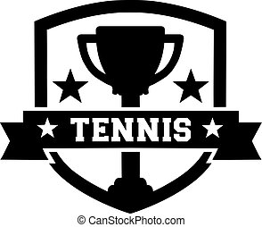 Tennis emblem with cup