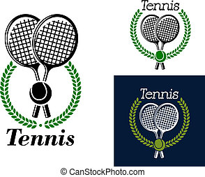 Tennis emblem with crossed tennis racquets and a ball surrounded by a circular laurel wreath with the text - Tennis - in three color variants