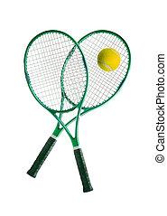 Tennis equipment: ball and racket
