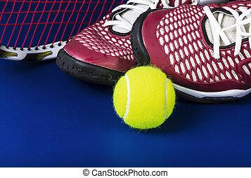 Tennis Equipment Basics - Tennis shoes, new ball, and racket...