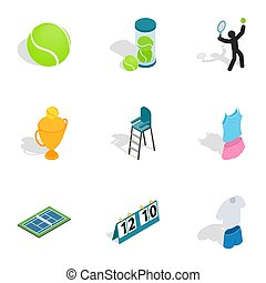 Tennis equipment icons, isometric 3d style