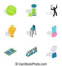 Tennis equipment icons, isometric 3d style