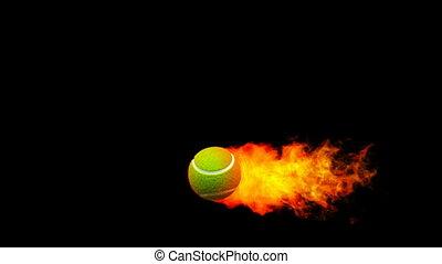 tennis, feuerflammen, feuerball