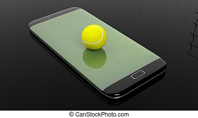 Tennis field with ball on smartphone edge display, isolated on black.
