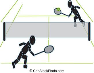 tennis, figuren, stok, spelend