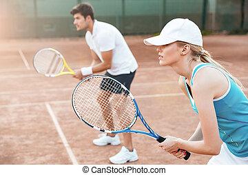 tennis, frau, ansicht, seite, mann