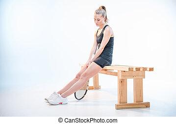 tennis, frau, schläger