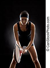 tennis, frau, schwarz, bereit, spielen, schläger
